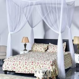 Mosquito Net Quick Easy Set Up 4Corner Post Bed Canopy Netti
