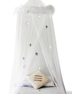 NEW Boho & Beach Feather Trim Bed Canopy Mosquito Net BJ