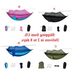 Nylon Camping Hammock with Mosquito Net for Hiking Sleeping