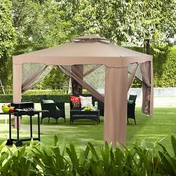 Outdoor 10 x 10 Canopy Gazebo Tent Shelter With Mosquito Net