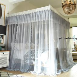 Palace style mosquito net bed netting with frames embroidere