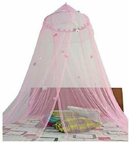 """Pink Daisy Embellished Bed Canopy Mosquito Net 24"""" x 100""""  D"""