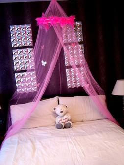 Pink Feather Boa Bed Mosquito Net Single Double Insect Fly P