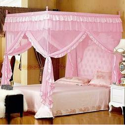 Pink Princess 4 Corners Post Bed Curtain Canopy Mosquito Net