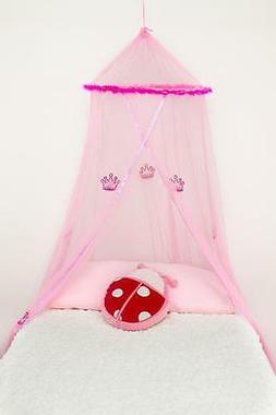 pink princess mosquito net with feathers