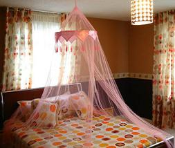 Pink Satin Crown Romantic Mosquito Net Bed Single Double Kin