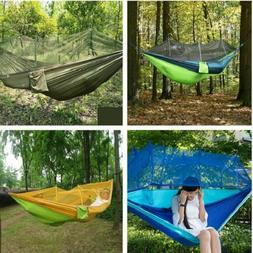 Portable Double Hammock Hanging Bed with Mosquito Net for Ou