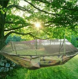 Portable Double Hammock with Mosquito Net Netting Outdoor Ca