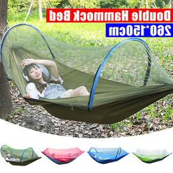 Portable Double Hammock With Mosquito Net Nylon Hanging Bed