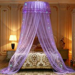 Princess Dome Bedroom  Mosquito Net Bedding Lace LED Light M