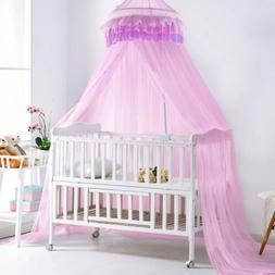 Mosquito Netting Princess Bed Canopy Round Dome Pink Lace Ru