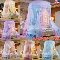 Round Mosquito Net Curtain Canopy Princess Single Entry For