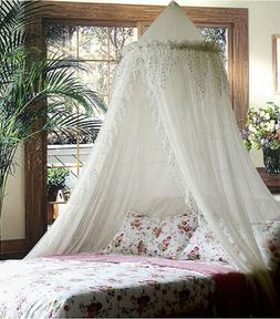 SPARKLE BLING BED CANOPY MOSQUITO NET WHITE - QUEEN FREE SHI