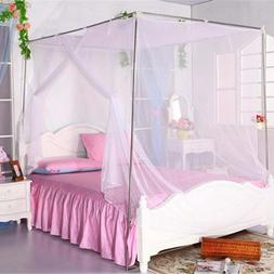 Top Quality White Four Corner Post Student Canopy Bed Mosqui