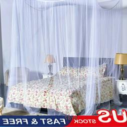 US 4 Corner Square Mosquito Net For Queen King Size Bed Cano