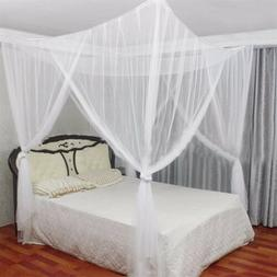 White 4 Corners Post Bed Canopy Twin Full Queen King Mosquit