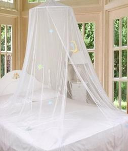 White Bed Canopy Mosquito Netting with Hook Good Night Moon