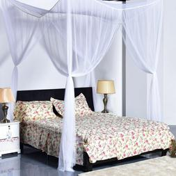 White Concise 4 Corners Post Bed Canopy Mosquito Net For Twi