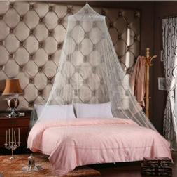 White Lace Bed Mosquito Netting Mesh Canopy Princess Round D