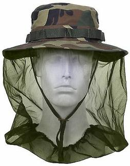 Woodland Camouflage Boonie Hat w/ Mosquito Head Netting Camp